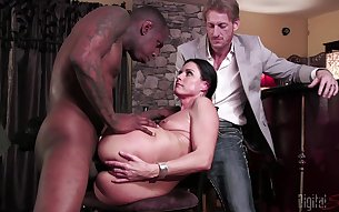 Sexy wife tries cuckold sex with a black man