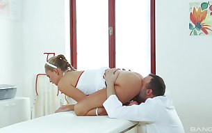 Facial cum shot for teen Ivana Sugar during nursing school