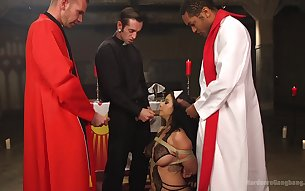 Asian girl Kimmy Lee dressed as a nun gets rough gangbang sex