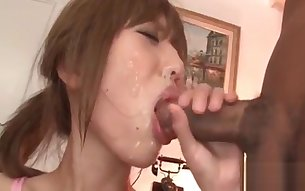 Sexy chick Meri Kanami opens her sweet mouth for two cocks
