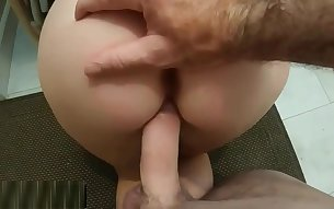 Stepson jerking while watching huge ass of spanish mother