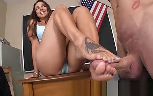 PRINCIPAL CAUGHT SPYING - GODDESS FOOTJOBS