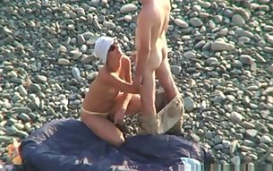 Voyeur on public beach Oral sex