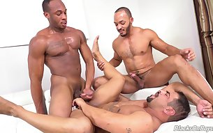 Threesome gay porn with black males on fire